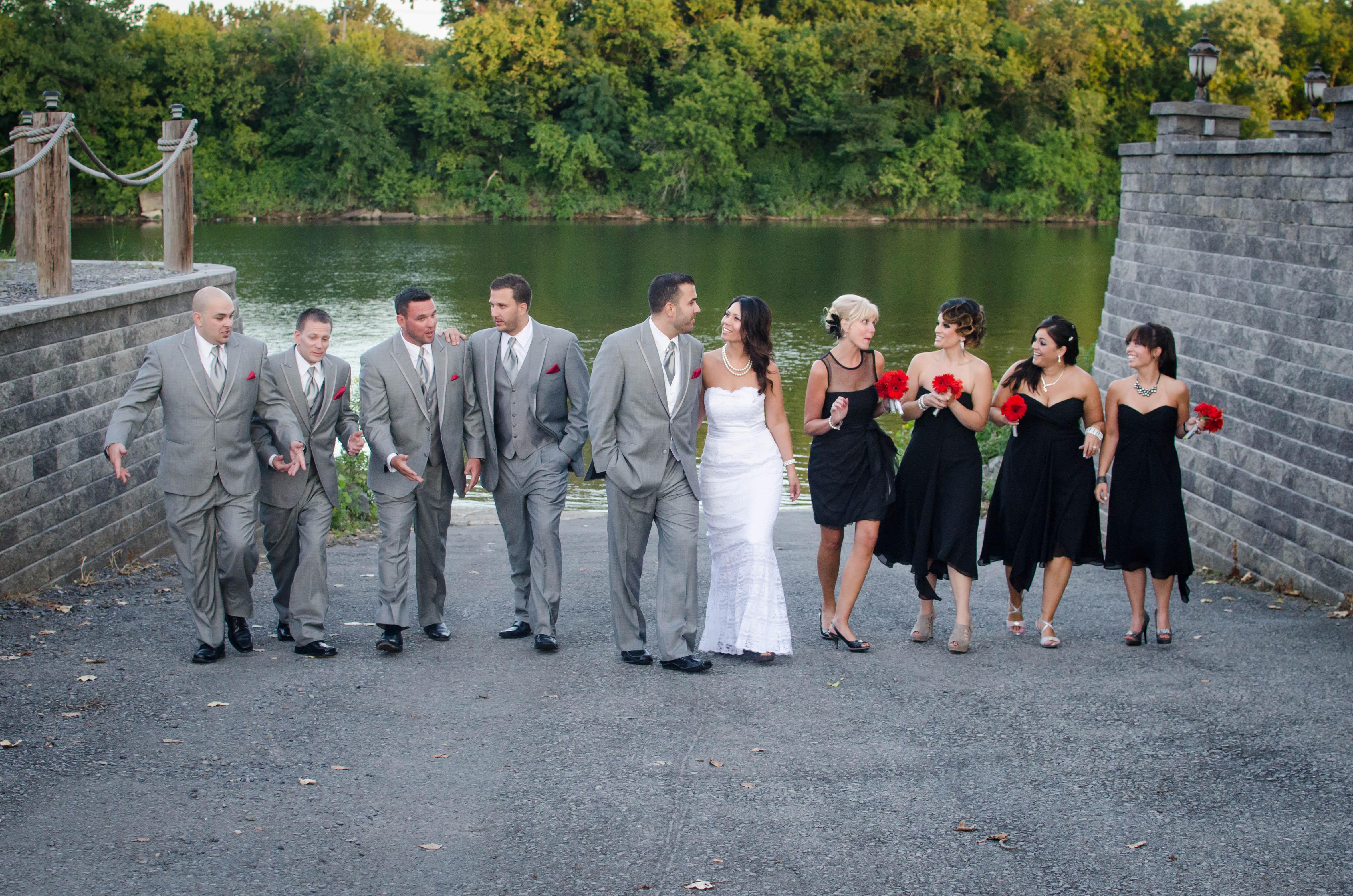 waters edge lighthouse wedding photo