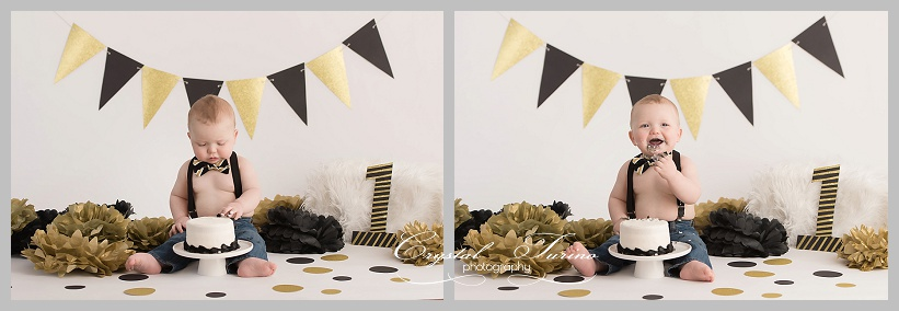 1st birthday cake smash gold and black