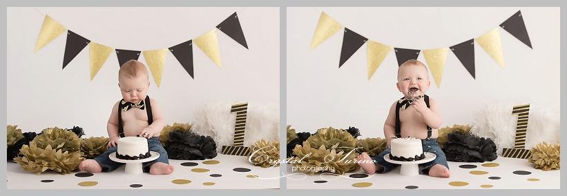 1st birthday cake smash gold and black