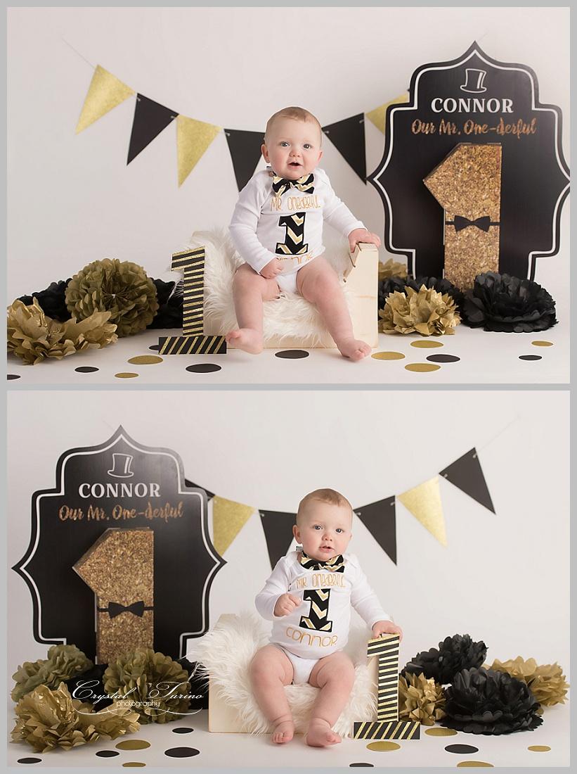 gold and black cake smash photo